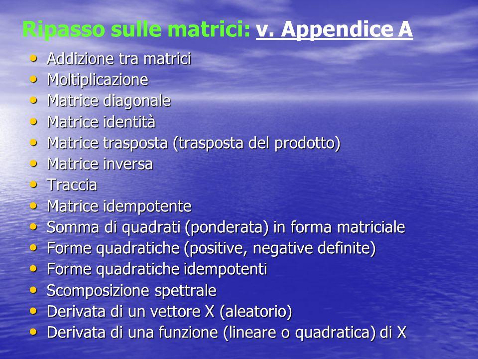Addizione tra matrici Addizione tra matrici Moltiplicazione Moltiplicazione Matrice diagonale Matrice diagonale Matrice identità Matrice identità Matr