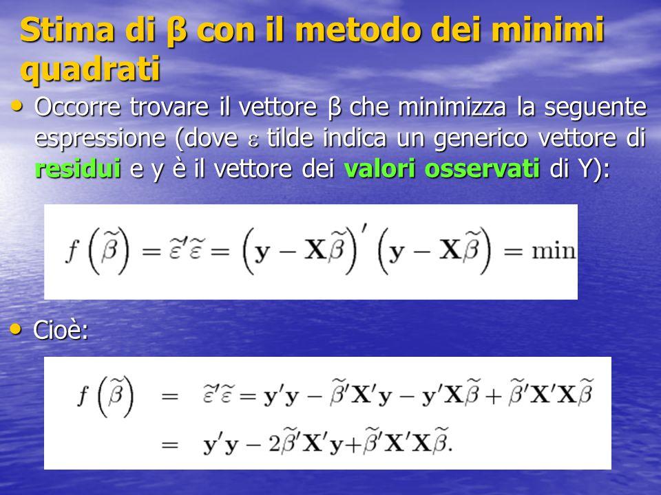 Stima di β con il metodo dei minimi quadrati Occorre trovare il vettore β che minimizza la seguente espressione (dove  tilde indica un generico vettore di residui e y è il vettore dei valori osservati di Y): Occorre trovare il vettore β che minimizza la seguente espressione (dove  tilde indica un generico vettore di residui e y è il vettore dei valori osservati di Y): Cioè: Cioè:
