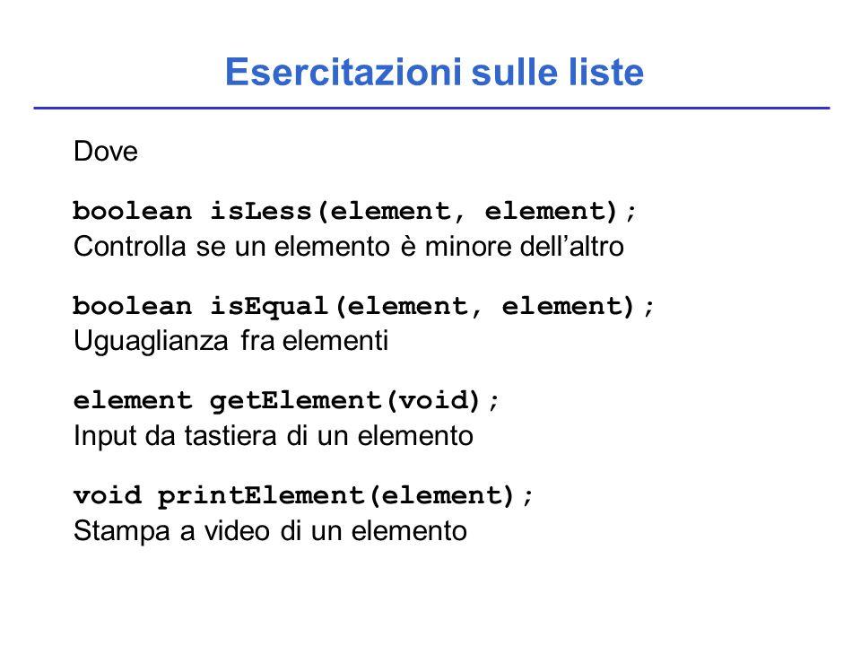 Esercitazioni sulle liste Dove boolean isLess(element, element); Controlla se un elemento è minore dell'altro boolean isEqual(element, element); Uguag