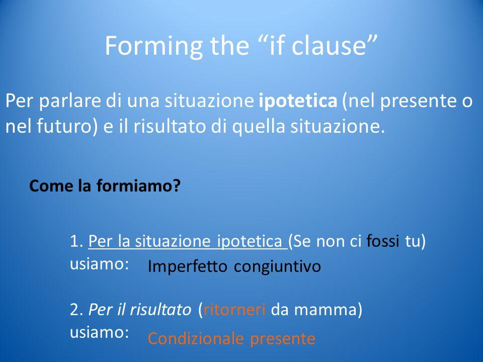 Forming the if clause Per parlare di una situazione ipotetica (nel presente o nel futuro) e il risultato di quella situazione.