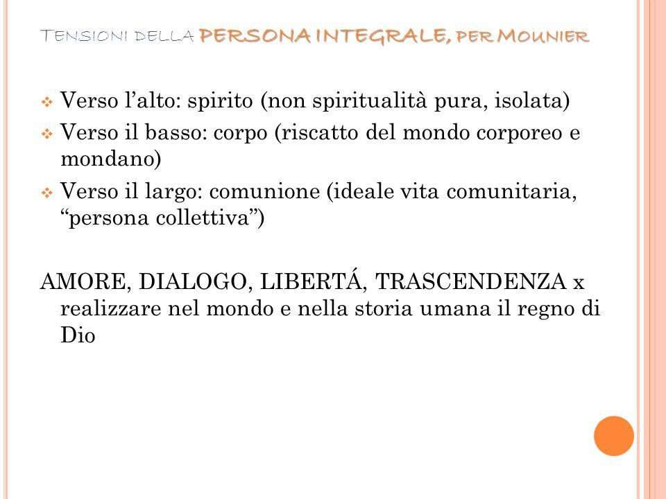 PERSONA INTEGRALE, PER M OUNIER T ENSIONI DELLA PERSONA INTEGRALE, PER M OUNIER  Verso l'alto: spirito (non spiritualità pura, isolata)  Verso il ba