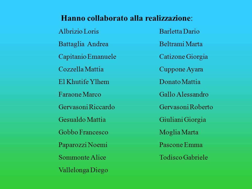 Hanno collaborato alla realizzazione: Albrizio LorisBarletta Dario Battaglia AndreaBeltrami Marta Capitanio EmanueleCatizone Giorgia Cozzella MattiaCu