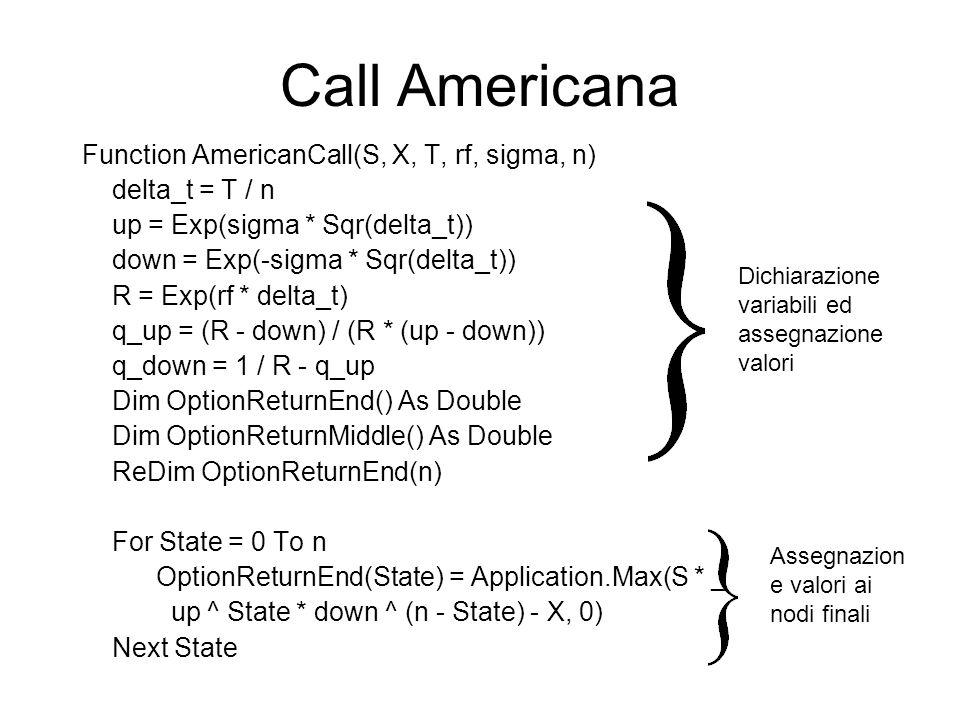 Call Americana Function AmericanCall(S, X, T, rf, sigma, n) delta_t = T / n up = Exp(sigma * Sqr(delta_t)) down = Exp(-sigma * Sqr(delta_t)) R = Exp(r