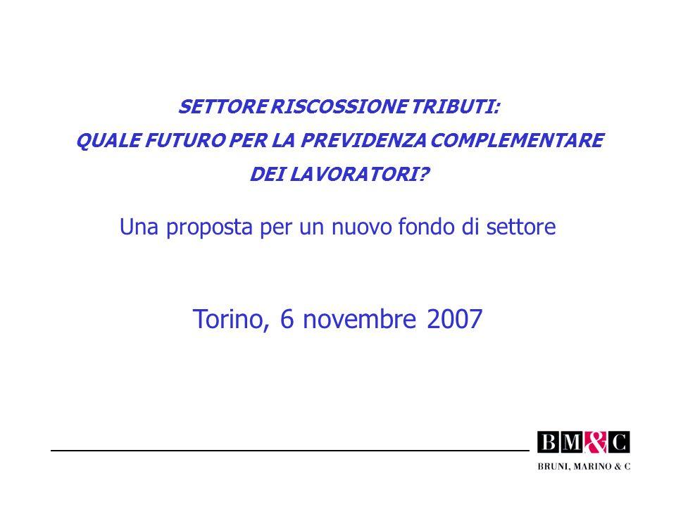 SETTORE RISCOSSIONE TRIBUTI: QUALE FUTURO PER LA PREVIDENZA COMPLEMENTARE DEI LAVORATORI? Una proposta per un nuovo fondo di settore Torino, 6 novembr
