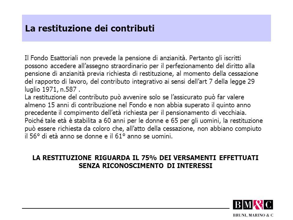 La restituzione dei contributi Il Fondo Esattoriali non prevede la pensione di anzianità. Pertanto gli iscritti possono accedere all'assegno straordin