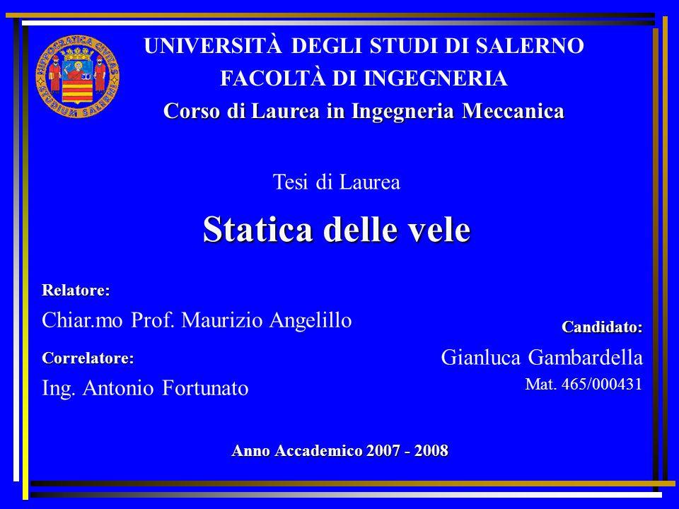Statica delle vele UNIVERSITÀ DEGLI STUDI DI SALERNO FACOLTÀ DI INGEGNERIA Corso di Laurea in Ingegneria Meccanica Relatore: Chiar.mo Prof.