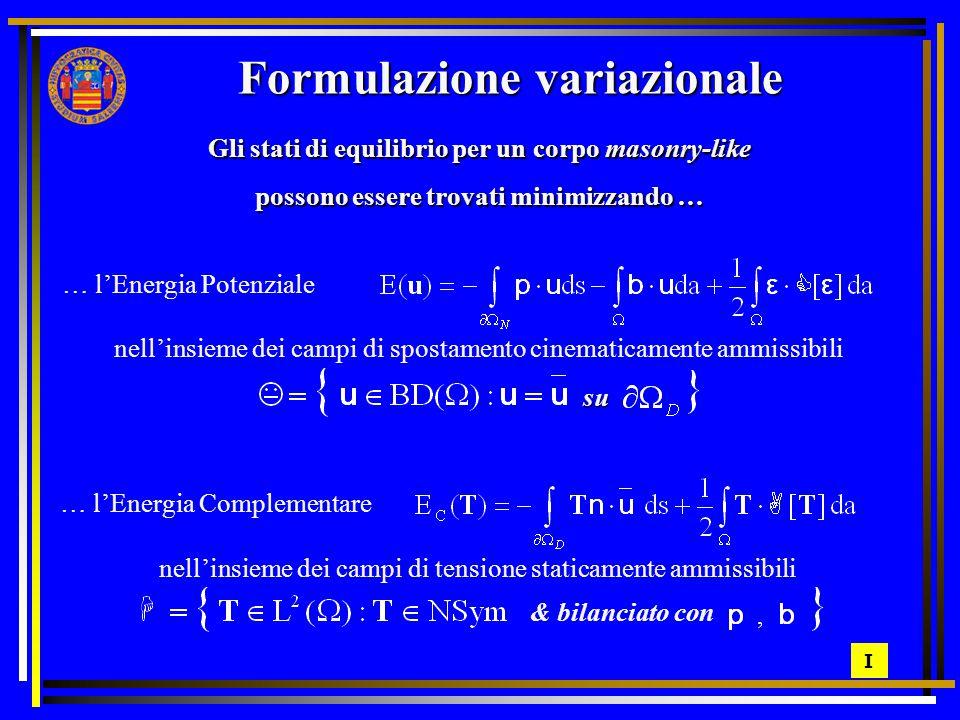 I Formulazione variazionale Gli stati di equilibrio per un corpo masonry-like possono essere trovati minimizzando … … l'Energia Potenziale nell'insieme dei campi di spostamento cinematicamente ammissibili su … l'Energia Complementare nell'insieme dei campi di tensione staticamente ammissibili & bilanciato con