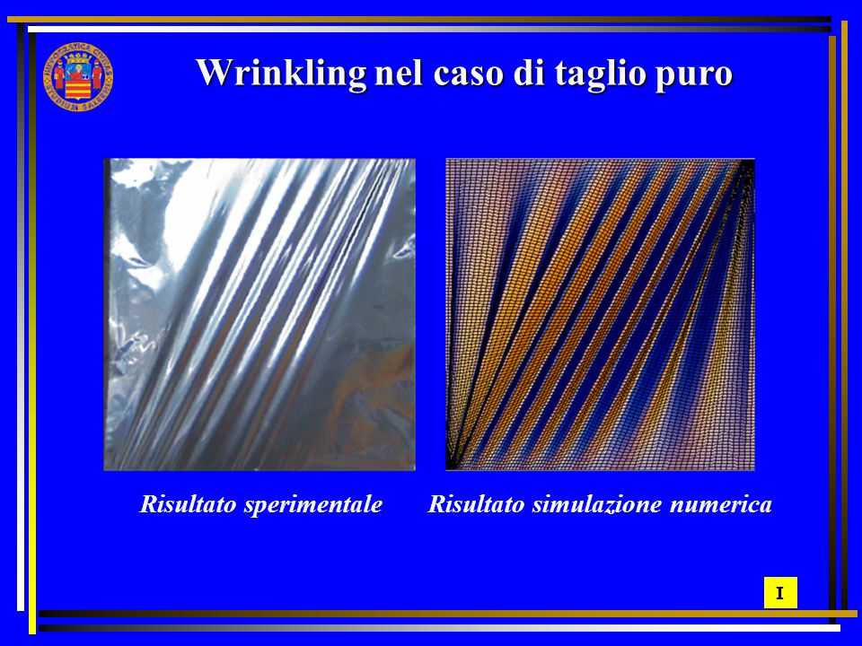 Wrinkling nel caso di taglio puro Risultato sperimentale Risultato simulazione numerica I