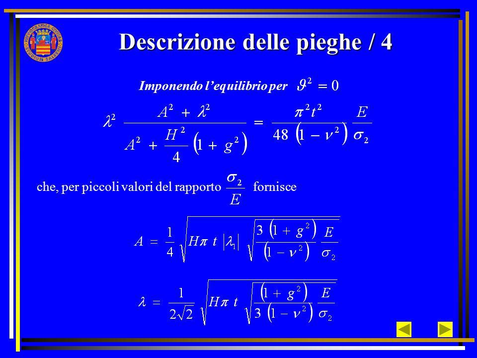 Descrizione delle pieghe / 4 Imponendo l'equilibrio per che, per piccoli valori del rapporto fornisce