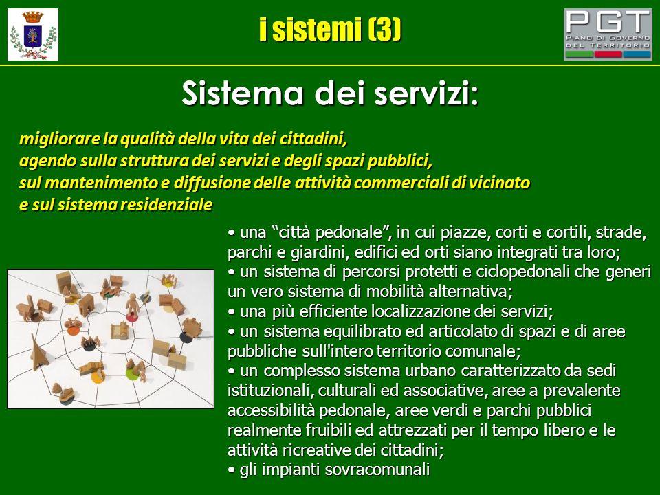 i sistemi (3) Sistema dei servizi: migliorare la qualità della vita dei cittadini, agendo sulla struttura dei servizi e degli spazi pubblici, sul mant