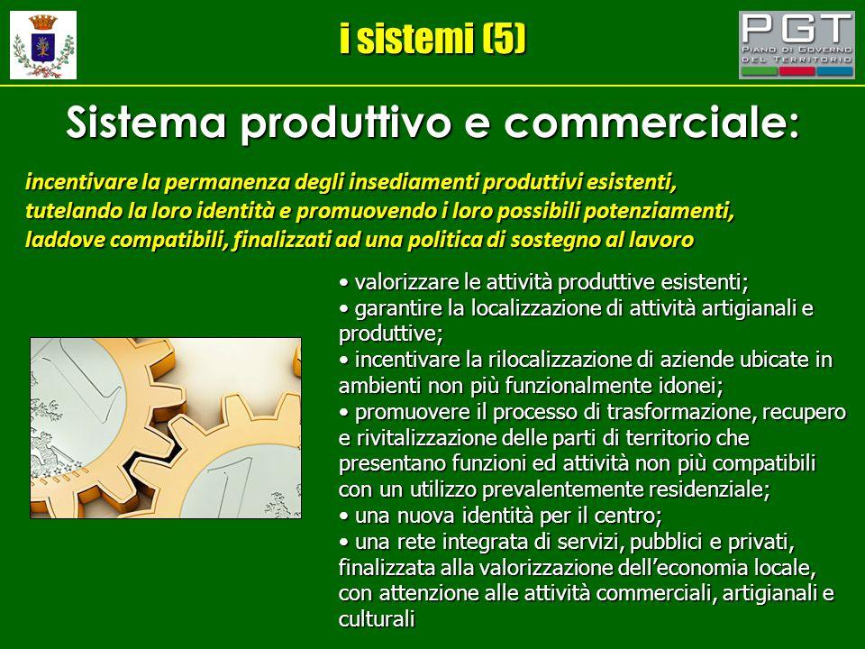 i sistemi (5) Sistema produttivo e commerciale: incentivare la permanenza degli insediamenti produttivi esistenti, tutelando la loro identità e promuo