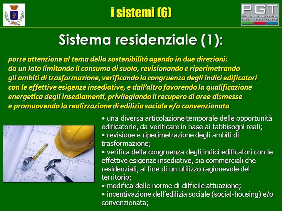 i sistemi (6) Sistema residenziale (1): porre attenzione al tema della sostenibilità agendo in due direzioni: da un lato limitando il consumo di suolo