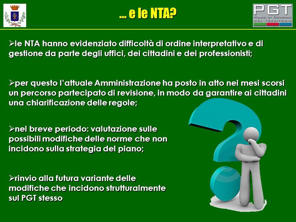 … e le NTA?  le NTA hanno evidenziato difficoltà di ordine interpretativo e di gestione da parte degli uffici, dei cittadini e dei professionisti; 