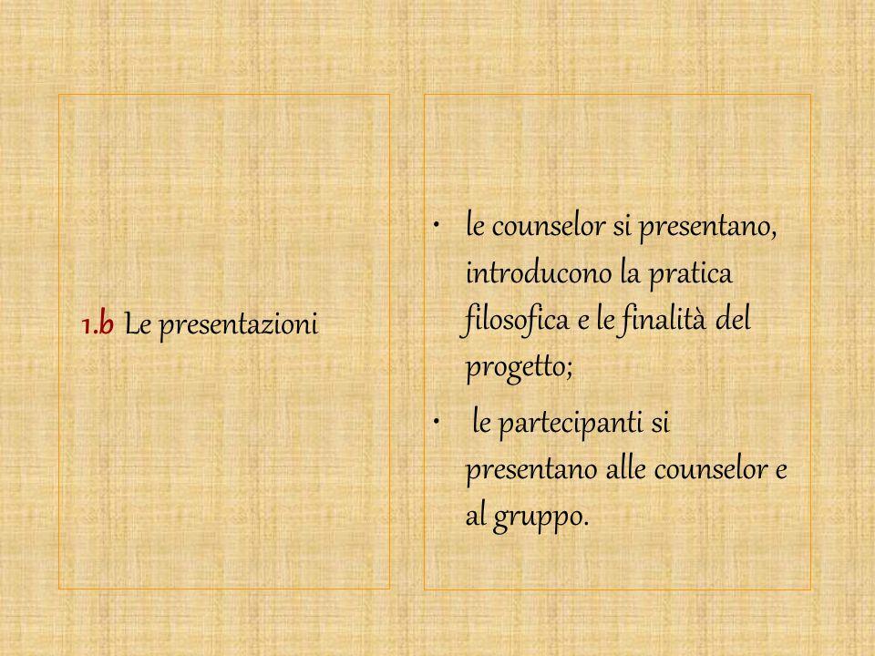 1.b Le presentazioni le counselor si presentano, introducono la pratica filosofica e le finalità del progetto; le partecipanti si presentano alle coun