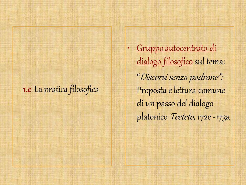 """1.c La pratica filosofica Gruppo autocentrato di dialogo filosofico sul tema: """"Discorsi senza padrone"""": Proposta e lettura comune di un passo del dial"""