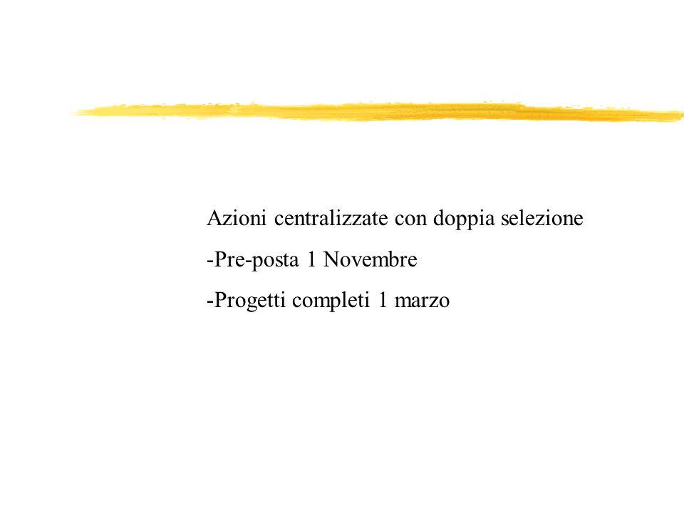 Azioni centralizzate con doppia selezione -Pre-posta 1 Novembre -Progetti completi 1 marzo
