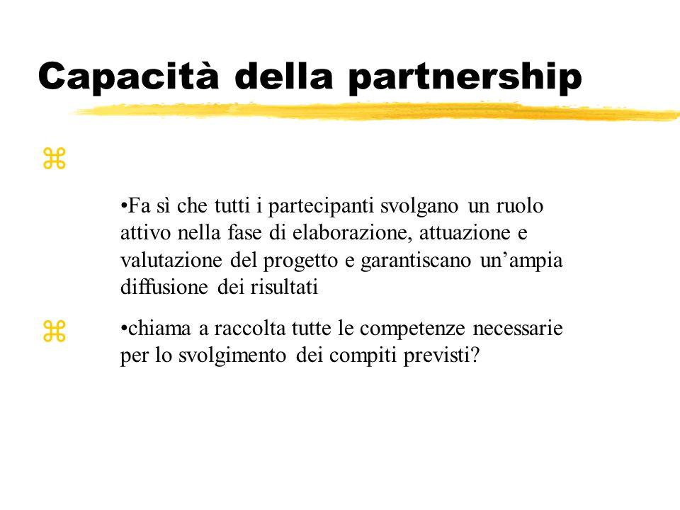 Capacità della partnership zfa sì che tutti i partecipanti svolgano un ruolo attivo nella fase di elaborazione, attuazione e valutazione del progetto e garantiscano un ampia diffusione dei risultati.