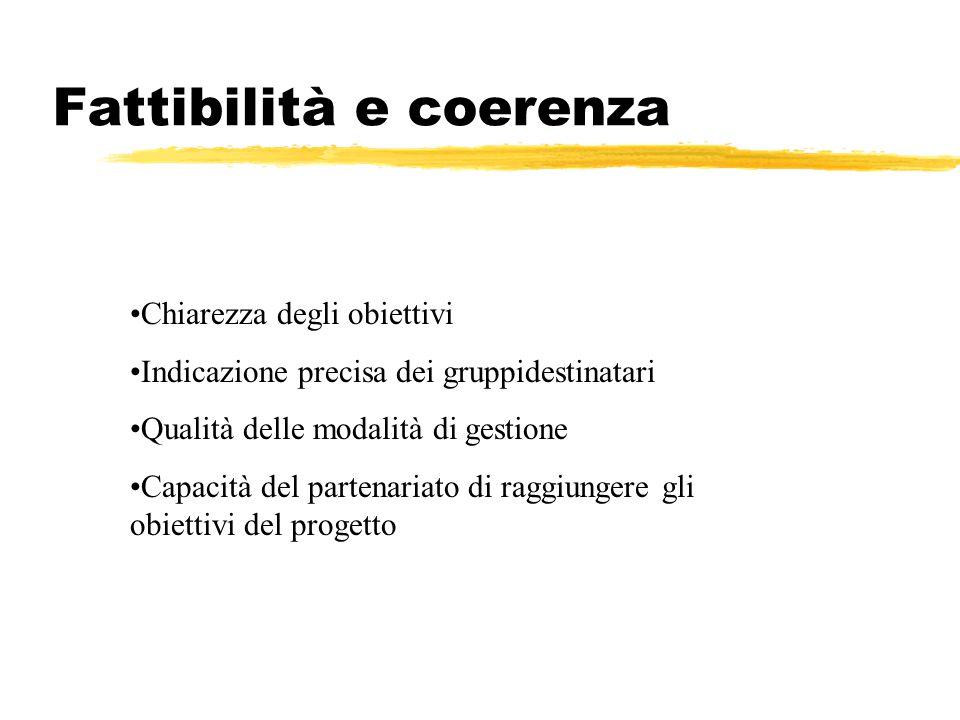 Fattibilità e coerenza Chiarezza degli obiettivi Indicazione precisa dei gruppidestinatari Qualità delle modalità di gestione Capacità del partenariato di raggiungere gli obiettivi del progetto