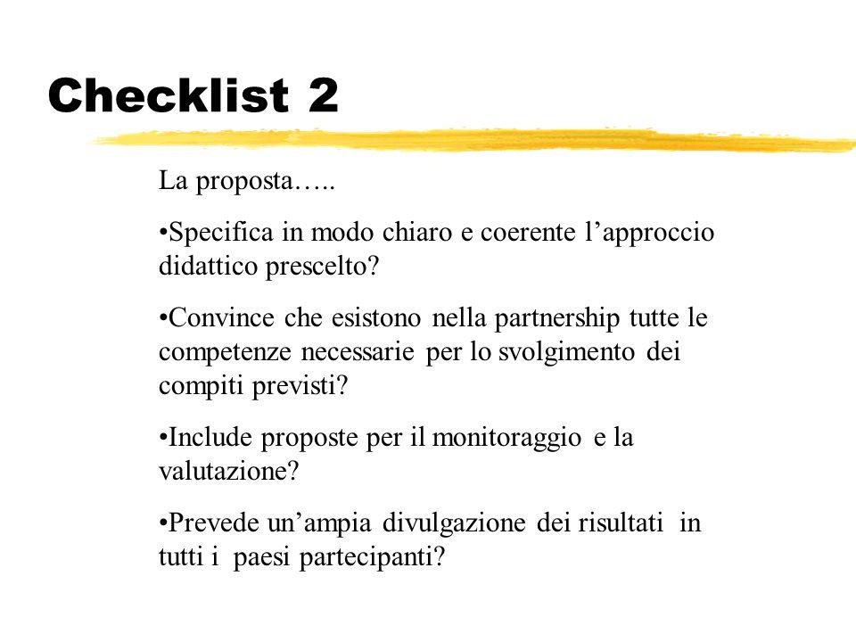 Checklist 2 La proposta... La proposta…..
