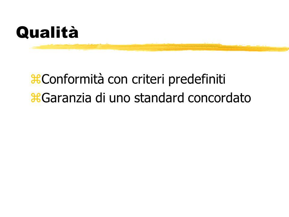 Qualità zConformità con criteri predefiniti zGaranzia di uno standard concordato