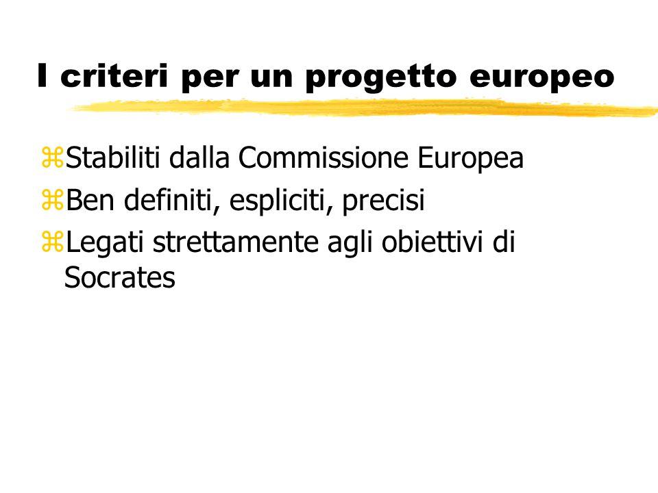 I criteri per un progetto europeo zStabiliti dalla Commissione Europea zBen definiti, espliciti, precisi zLegati strettamente agli obiettivi di Socrates