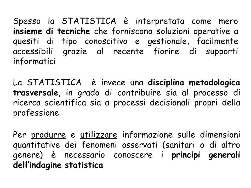 Spesso la STATISTICA è interpretata come mero insieme di tecniche che forniscono soluzioni operative a quesiti di tipo conoscitivo e gestionale, facil