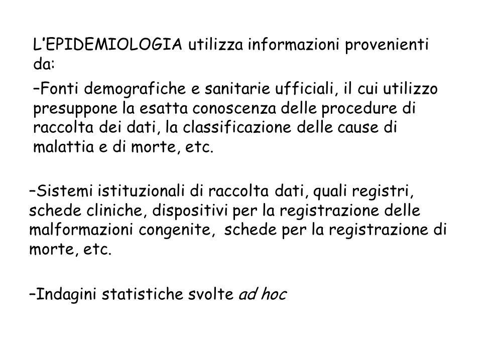 L'EPIDEMIOLOGIA utilizza informazioni provenienti da: –Sistemi istituzionali di raccolta dati, quali registri, schede cliniche, dispositivi per la reg