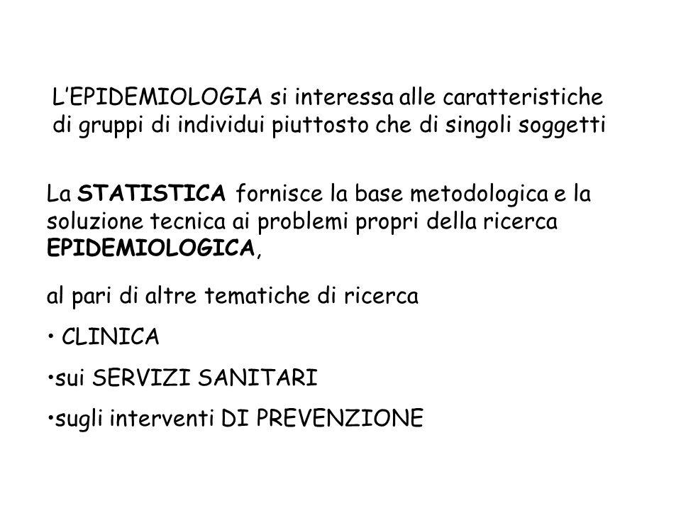 La STATISTICA fornisce la base metodologica e la soluzione tecnica ai problemi propri della ricerca EPIDEMIOLOGICA, L'EPIDEMIOLOGIA si interessa alle