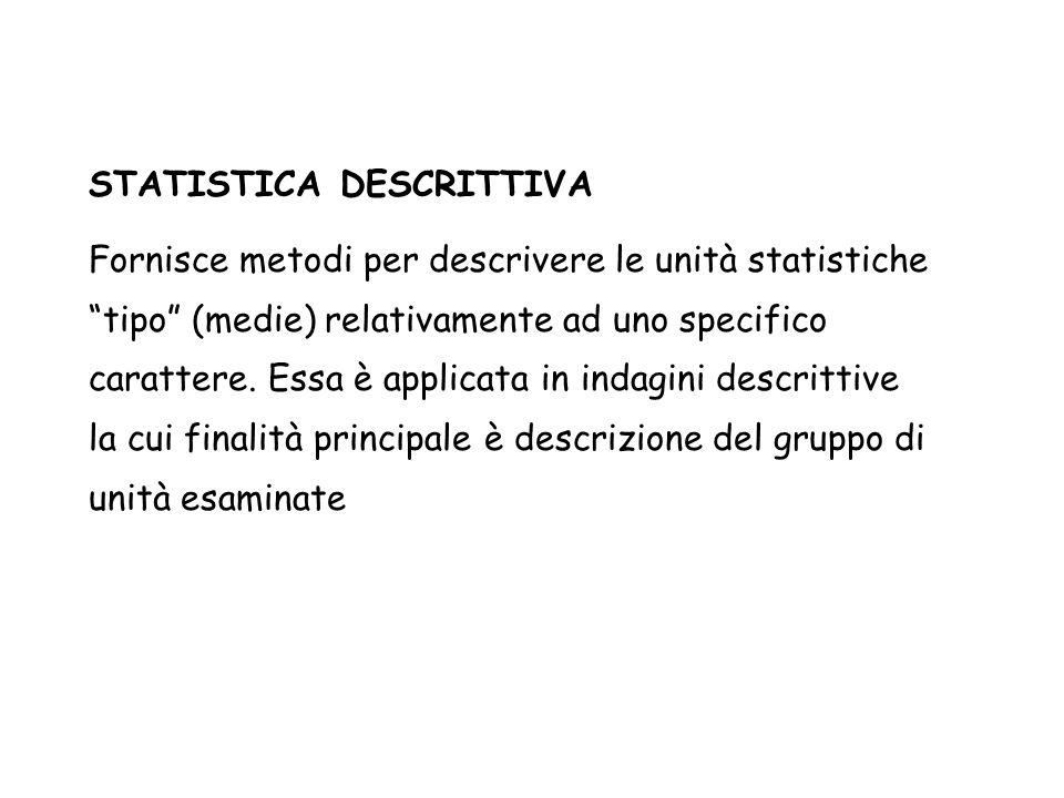 """STATISTICA DESCRITTIVA Fornisce metodi per descrivere le unità statistiche """"tipo"""" (medie) relativamente ad uno specifico carattere. Essa è applicata i"""