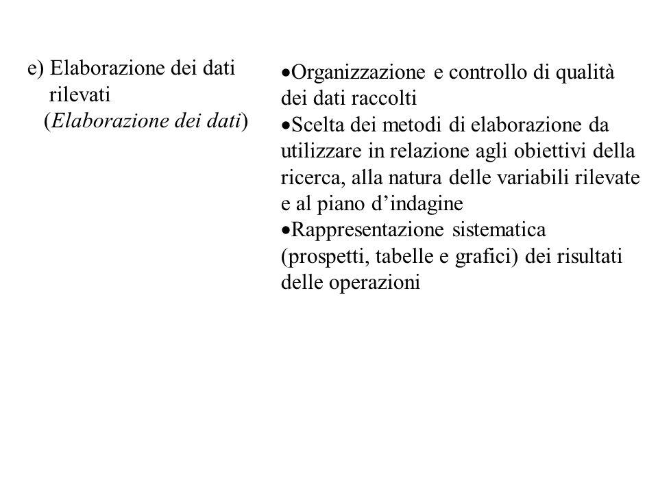 e) Elaborazione dei dati rilevati (Elaborazione dei dati)  Organizzazione e controllo di qualità dei dati raccolti  Scelta dei metodi di elaborazion