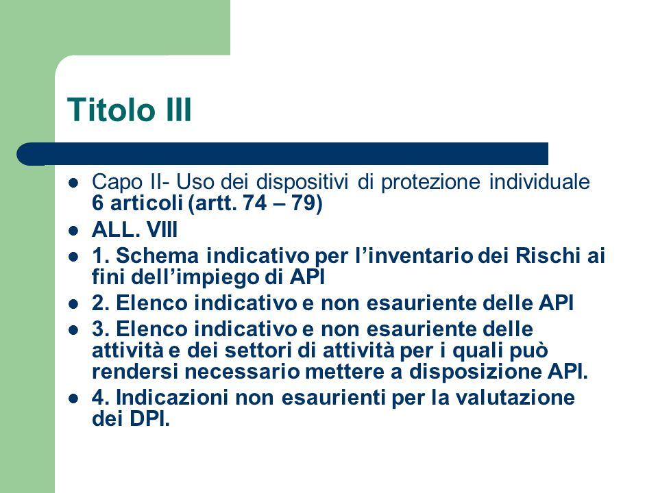Titolo III Capo II- Uso dei dispositivi di protezione individuale 6 articoli (artt. 74 – 79) ALL. VIII 1. Schema indicativo per l'inventario dei Risch