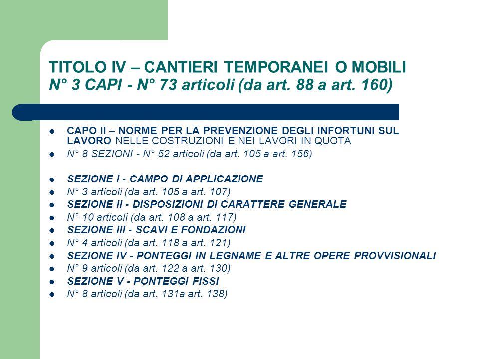 TITOLO IV – CANTIERI TEMPORANEI O MOBILI N° 3 CAPI - N° 73 articoli (da art. 88 a art. 160) CAPO II – NORME PER LA PREVENZIONE DEGLI INFORTUNI SUL LAV
