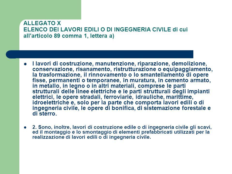 ALLEGATO X ELENCO DEI LAVORI EDILI O DI INGEGNERIA CIVILE di cui all'articolo 89 comma 1, lettera a) I lavori di costruzione, manutenzione, riparazion