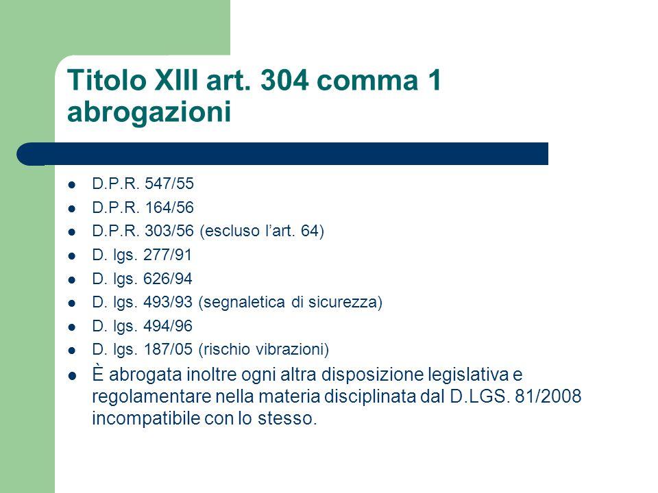 Titolo XIII art. 304 comma 1 abrogazioni D.P.R. 547/55 D.P.R. 164/56 D.P.R. 303/56 (escluso l'art. 64) D. lgs. 277/91 D. lgs. 626/94 D. lgs. 493/93 (s