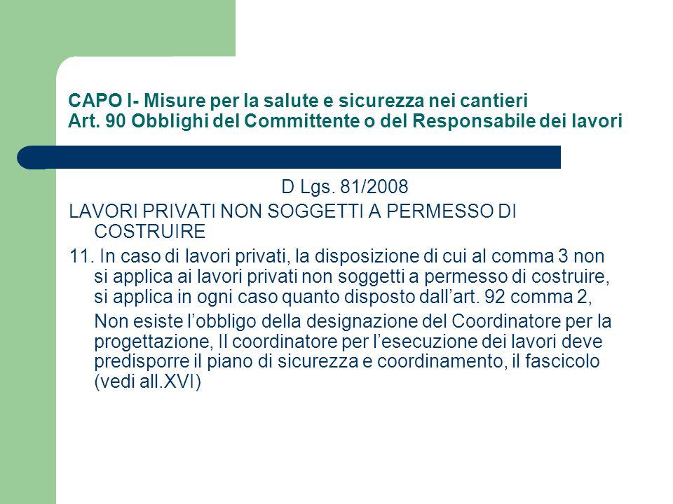 CAPO I- Misure per la salute e sicurezza nei cantieri Art. 90 Obblighi del Committente o del Responsabile dei lavori D Lgs. 81/2008 LAVORI PRIVATI NON