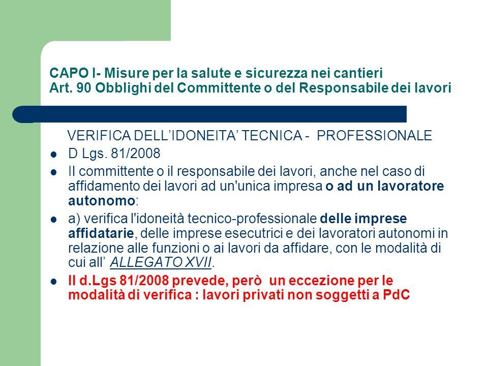CAPO I- Misure per la salute e sicurezza nei cantieri Art. 90 Obblighi del Committente o del Responsabile dei lavori VERIFICA DELL'IDONEITA' TECNICA -