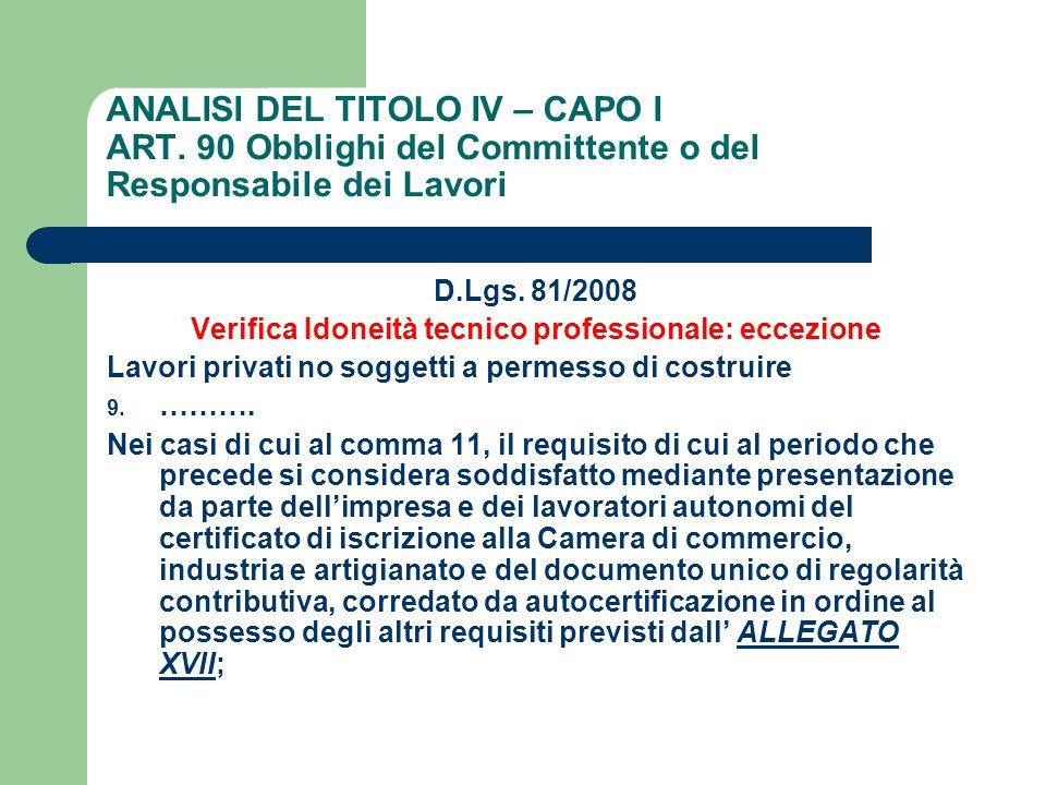 ANALISI DEL TITOLO IV – CAPO I ART. 90 Obblighi del Committente o del Responsabile dei Lavori D.Lgs. 81/2008 Verifica Idoneità tecnico professionale: