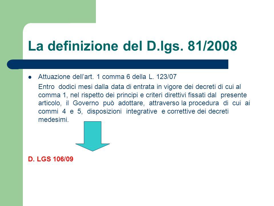 La definizione del D.lgs. 81/2008 Attuazione dell'art. 1 comma 6 della L. 123/07 Entro dodici mesi dalla data di entrata in vigore dei decreti di cui