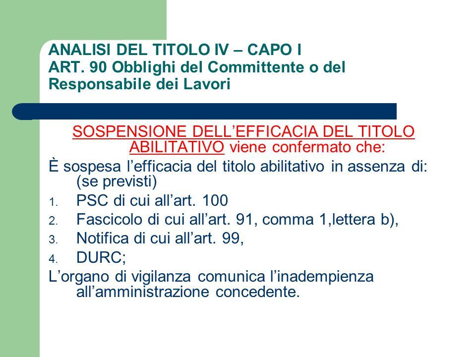 ANALISI DEL TITOLO IV – CAPO I ART. 90 Obblighi del Committente o del Responsabile dei Lavori SOSPENSIONE DELL'EFFICACIA DEL TITOLO ABILITATIVO viene