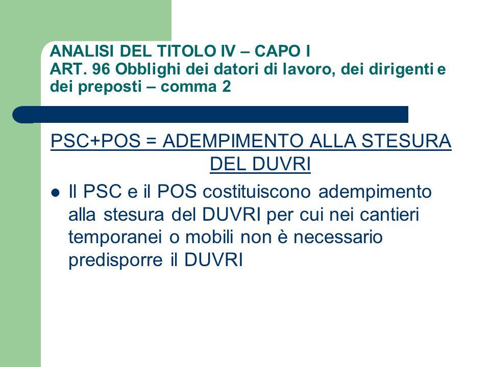 ANALISI DEL TITOLO IV – CAPO I ART. 96 Obblighi dei datori di lavoro, dei dirigenti e dei preposti – comma 2 PSC+POS = ADEMPIMENTO ALLA STESURA DEL DU