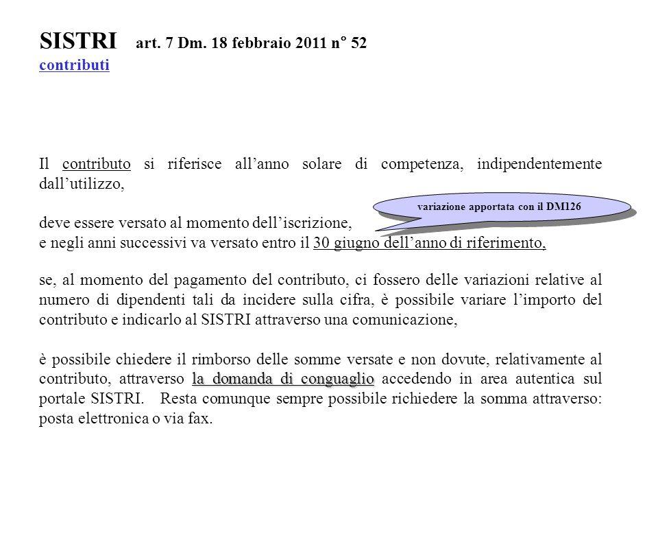 SISTRI art. 7 Dm. 18 febbraio 2011 n° 52 contributi Il contributo si riferisce all'anno solare di competenza, indipendentemente dall'utilizzo, deve es