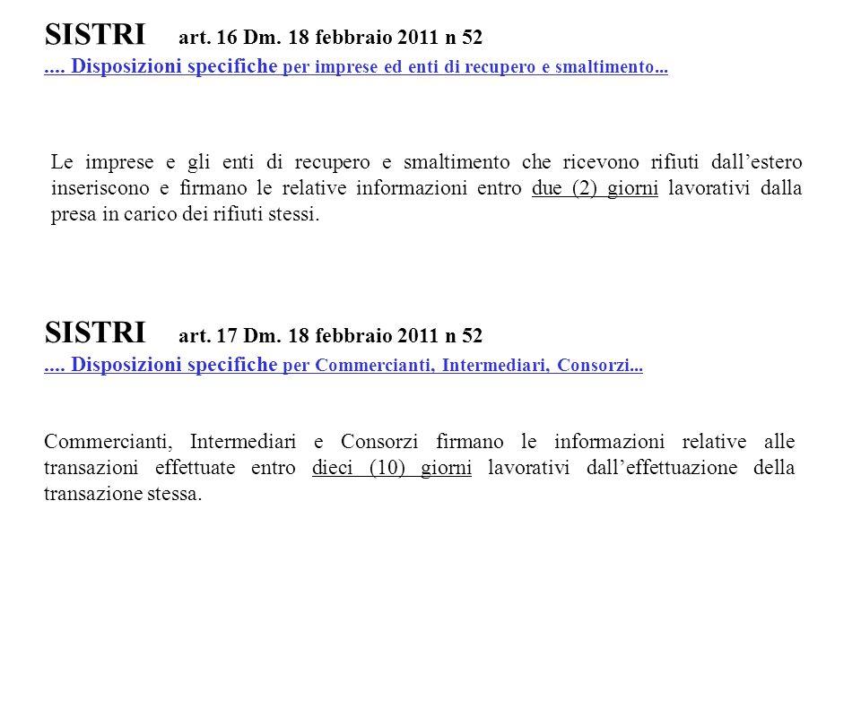 SISTRI art. 16 Dm. 18 febbraio 2011 n 52.... Disposizioni specifiche per imprese ed enti di recupero e smaltimento... Le imprese e gli enti di recuper