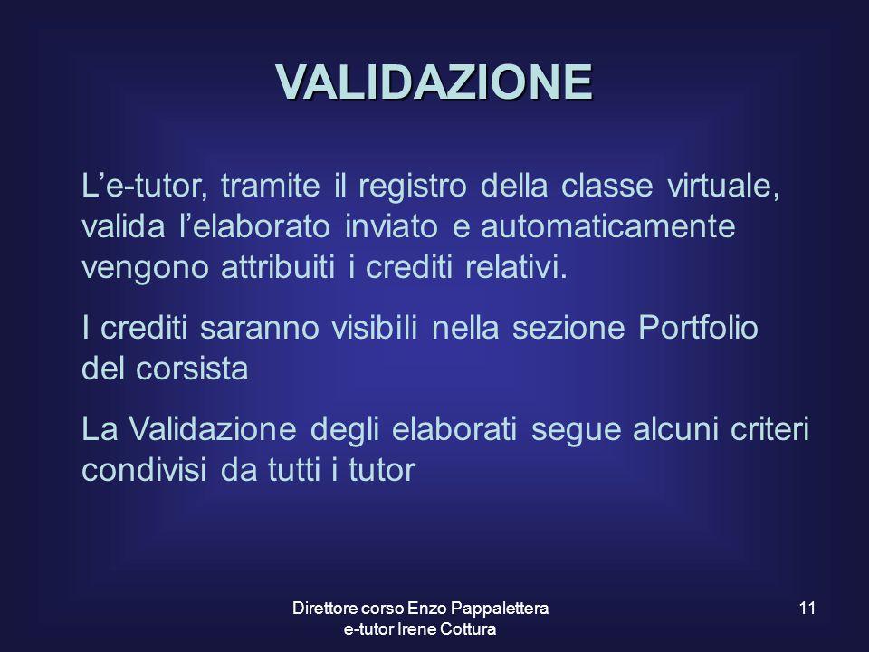 11 VALIDAZIONE L'e-tutor, tramite il registro della classe virtuale, valida l'elaborato inviato e automaticamente vengono attribuiti i crediti relativ
