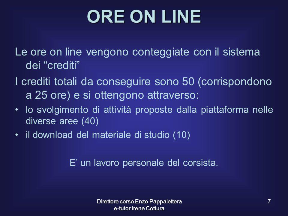 """7 ORE ON LINE Le ore on line vengono conteggiate con il sistema dei """"crediti"""" I crediti totali da conseguire sono 50 (corrispondono a 25 ore) e si ott"""