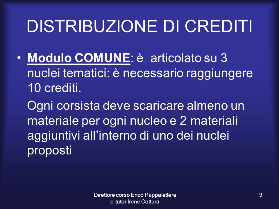 DISTRIBUZIONE DI CREDITI Modulo COMUNE: è articolato su 3 nuclei tematici: è necessario raggiungere 10 crediti. Ogni corsista deve scaricare almeno un
