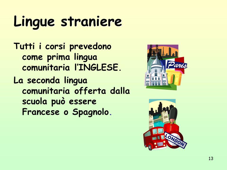 13 Lingue straniere Tutti i corsi prevedono come prima lingua comunitaria l'INGLESE. La seconda lingua comunitaria offerta dalla scuola può essere Fra