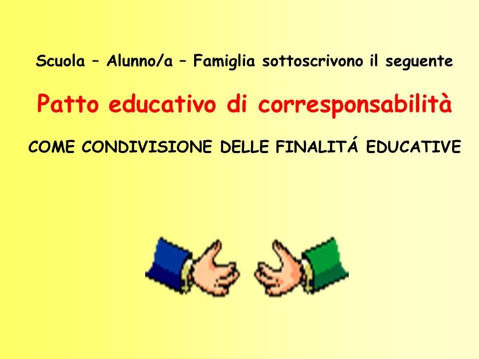 Scuola – Alunno/a – Famiglia sottoscrivono il seguente Patto educativo di corresponsabilità COME CONDIVISIONE DELLE FINALITÁ EDUCATIVE