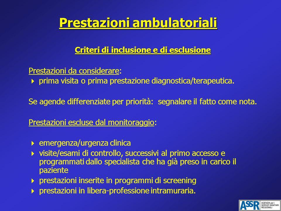 Prestazioni ambulatoriali Criteri di inclusione e di esclusione Prestazioni da considerare:  prima visita o prima prestazione diagnostica/terapeutica.