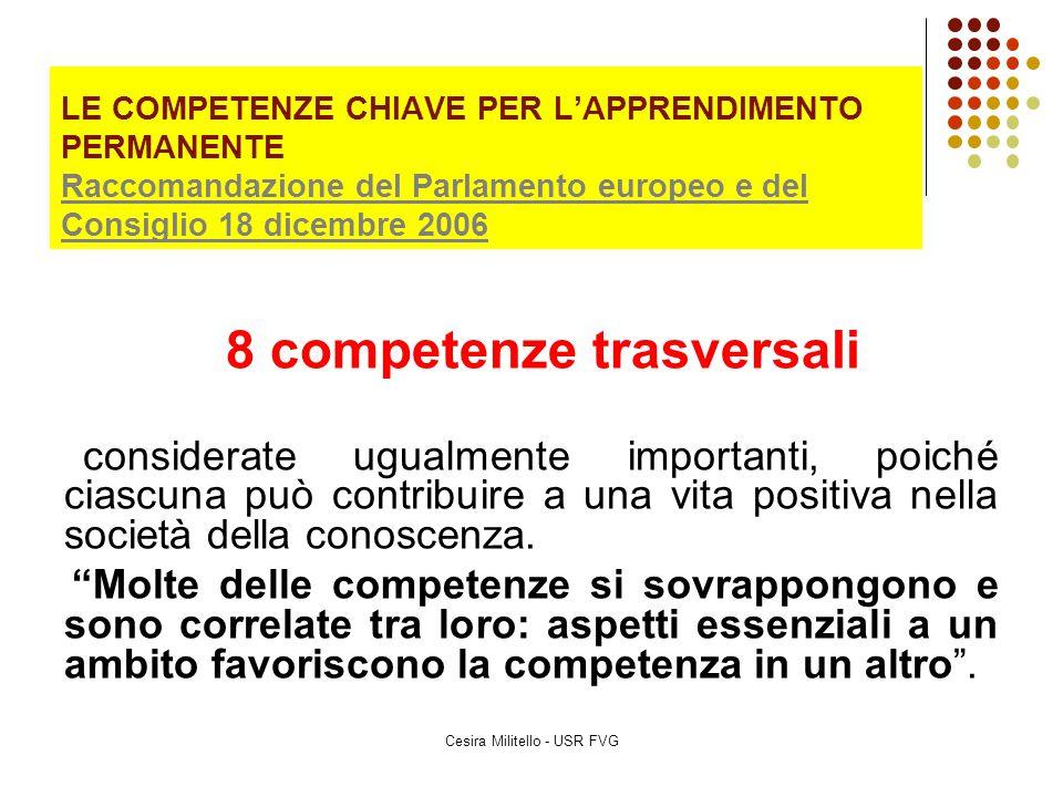 LE COMPETENZE CHIAVE PER L'APPRENDIMENTO PERMANENTE Raccomandazione del Parlamento europeo e del Consiglio 18 dicembre 2006 Raccomandazione del Parlam
