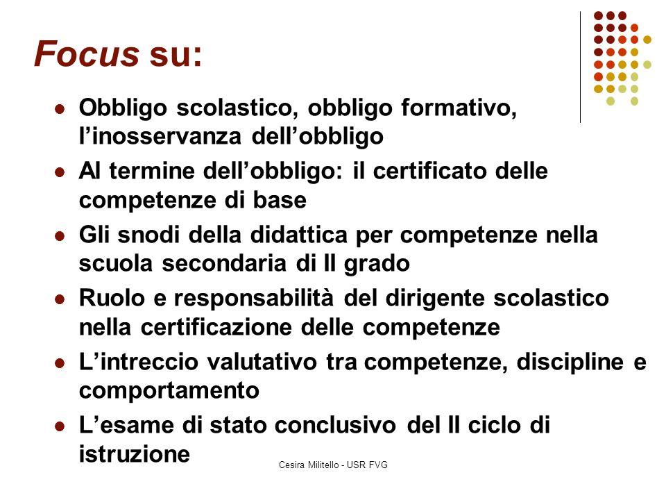 Focus su: Cesira Militello - USR FVG Obbligo scolastico, obbligo formativo, l'inosservanza dell'obbligo Al termine dell'obbligo: il certificato delle